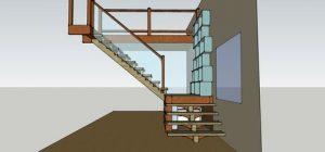 vue 3D escalier batik charpente