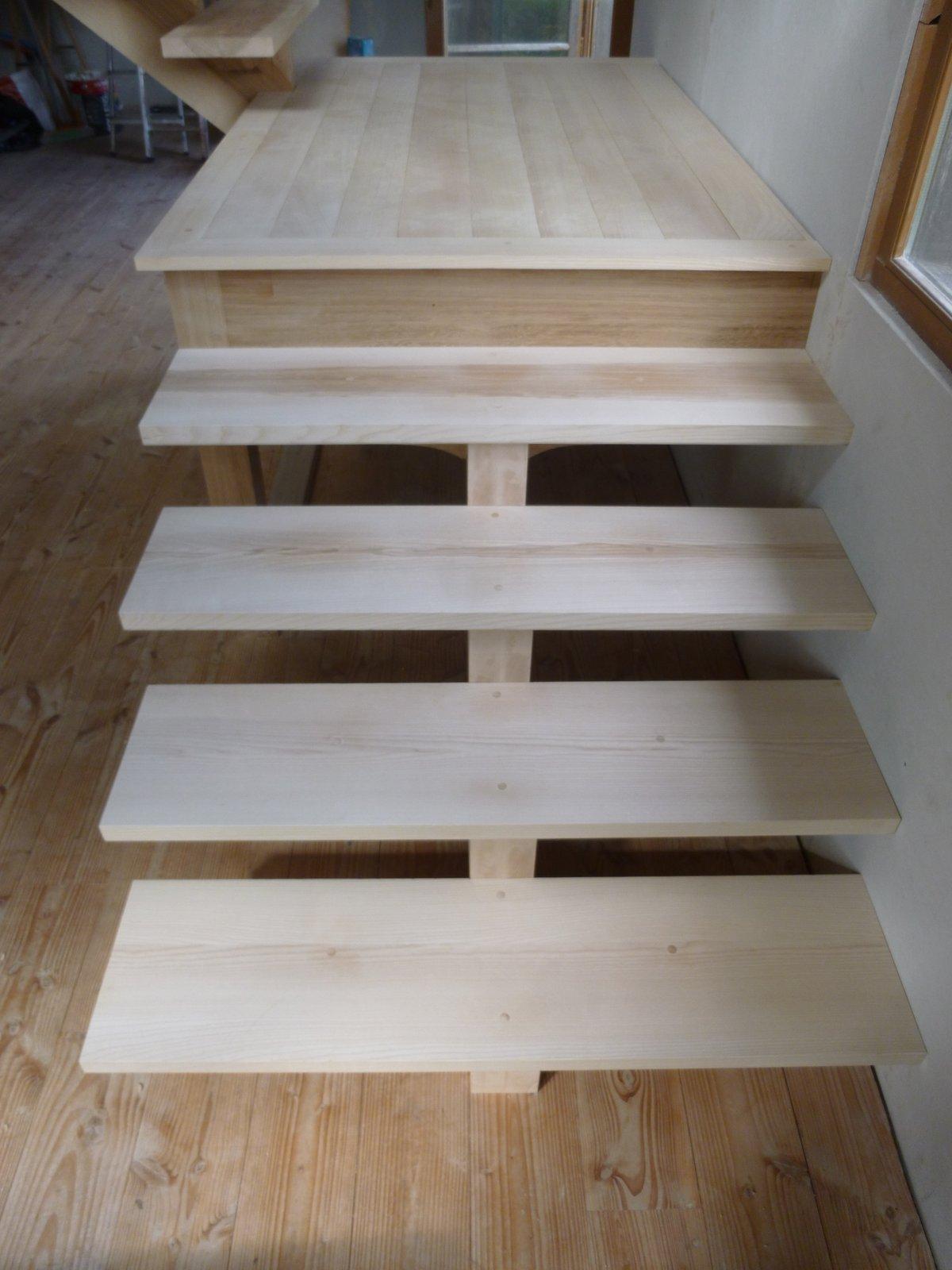 escalier, bois, palier