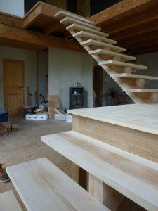 escalier, bois, charpente
